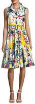 Samantha Sung Gigi Sleeveless Abstract-Print Shirtdress