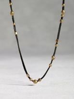 John Varvatos Leather & Bronze Bead Necklace