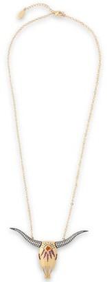 Noir Large Longhorn 14-karat Gold-plated Crystal Necklace