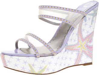 Versace Lilac Mesh And Suede Studded Trim Wedge Platform Sandals Size 40