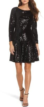 Eliza J Sequin Fit & Flare Dress