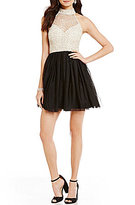 B. Darlin Sleeveless Mock Neck Illusion-Yoke Sequin Color Block Swing Party Dress