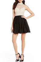 B. Darlin Sleeveless Mock Neck Sequin Color Block Party Dress