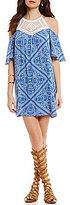 Xtraordinary Cold-Shoulder Scarf-Print Crochet-Yoke Shift Dress