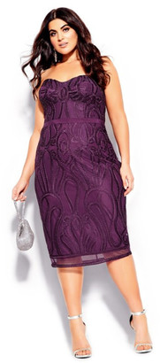 City Chic Antonia Dress - mulberry