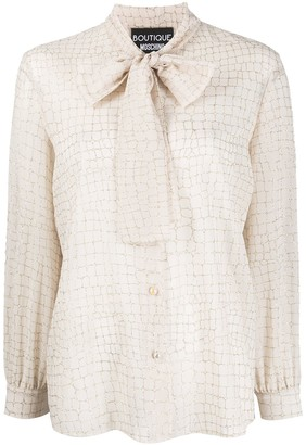Boutique Moschino Scarf-Collar Embroidered Blouse