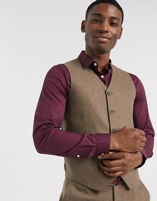 ASOS DESIGN wedding slim wool mix suit suit vest in camel herringbone