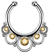 Nose Ring Bling Silver-Tone Fake Septum Clicker Clip On Non Piercing Nose Ring Hoop Yellow