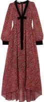 Philosophy di Lorenzo Serafini Velvet-trimmed Floral-print Silk-chiffon Midi Dress