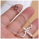 Bestpriceam New Women EKG Necklace Heartbeat Rhythm with Love Heart Shaped (Silver)