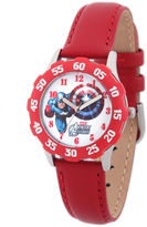 Marvel Captain America Kids Red Leather Strap Watch
