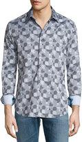 Robert Graham Malta Geometric-Print Sport Shirt, Charcoal