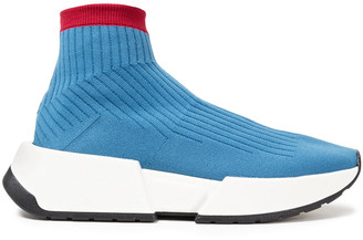 MM6 MAISON MARGIELA Two-tone Stretch-knit High-top Sneakers