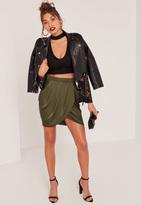 Missguided Khaki Gathered Front Wrap Asymmetric Mini Skirt