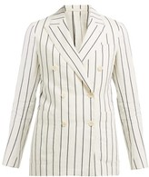 Odyssee - Jeanne Striped Double-breasted Cotton-blend Blazer - Womens - Cream