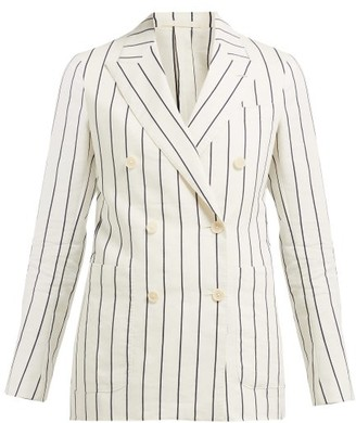 Odyssee - Jeanne Striped Double Breasted Cotton Blend Blazer - Womens - Cream