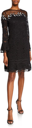 N. Shani Crewneck Bell-Sleeve Floral Lace Dress with Embroidery Detail
