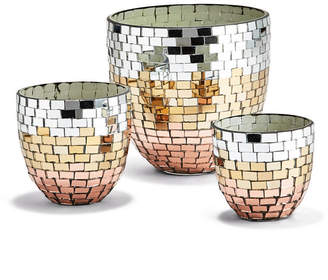 Twos Company Two Company Tri-Colored Mosaic Conical Candleholders - Set of 3