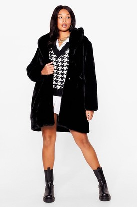 Nasty Gal Womens Wish You Fur Here Plus Faux Fur Coat - Black