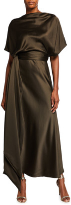 Brandon Maxwell Silk A-Line Belted Dress