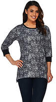 Denim & Co. Active 3/4 Sleeve Dot Printed Trapeze Hem Top