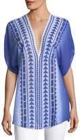 Milly Anguilla Embroidered Ombre Silk Tunic