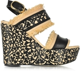 Oscar de la Renta Talitha Black & Beige Lasercut Leather and Raffia Wedge Sandals