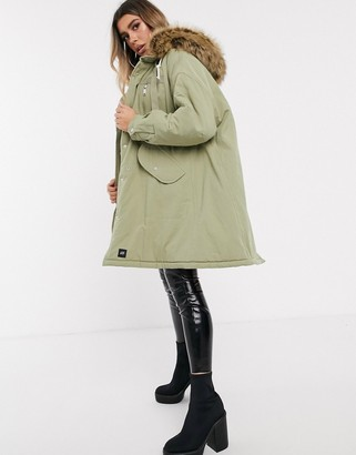 Sixth June oversized swing parka with faux fur hood-Green
