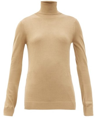 Burberry Elaina Roll-neck Two-tone Wool-blend Sweater - Camel