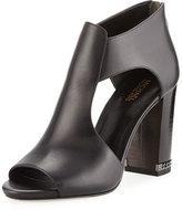 MICHAEL Michael Kors Sabrina Leather Caged Sandal, Black