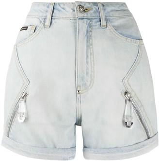 Philipp Plein Zip-Embellished Denim Shorts
