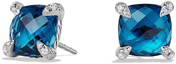 David Yurman Ch'telaine Earrings with Hampton Blue Topaz and Diamonds