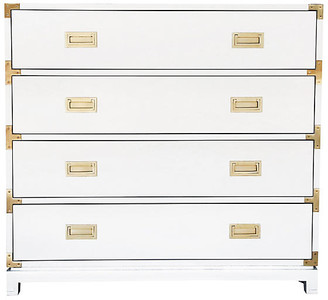 Ave Home Carlyle 4-Drawer Campaign Dresser - White