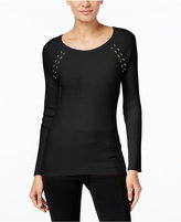 INC International Concepts Petite Lace-Up Sweater, Only at Macy's