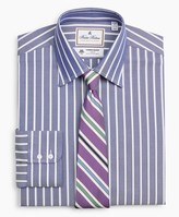 Brooks Brothers Luxury Collection Regent Fitted Dress Shirt, Franklin Spread Collar Herringbone Wide Stripe