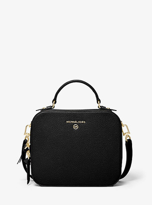 MICHAEL Michael Kors MK Jet Set Medium Pebbled Leather Crossbody Bag - Black - Michael Kors