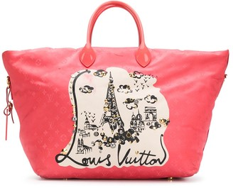 Louis Vuitton 2012 pre-owned Paris print tote bag
