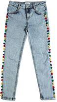 Au Jour Le Jour Stretch Cotton Denim Jeans W/ Pompoms