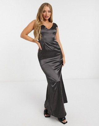 TFNC Bridesmaid satin maxi dress with deep plunge back in bronze