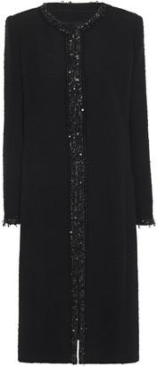 Andrew Gn Embellished Cotton-blend Boucle-tweed Coat