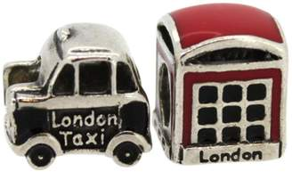 Link Up S.Silver London Cab and Phone Box Charms