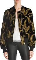 The Kooples Golden Fern Lace-Up Detail Bomber Jacket