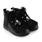 Paul Smith Girls Black Leather & Fur High Tops