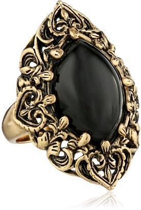 """Barse Guinevere"""" Ornate Onyx Ring Size 6"""