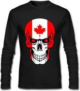 ROUNGO Mens CANADIAN SUGAR SKULL Cotton Athletic Long Sleeve T-Shirt Crew-Neck