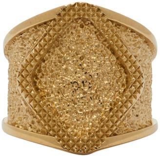 Bottega Veneta Gold Diamond Face Ring