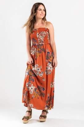 francesca's Camille Strapless Maxi Dress - Brick