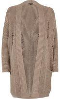 River Island Womens Grey ribbed knit long cardigan