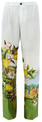 Issimo X F.r.s. For Restless Sleepers - Etere Lemon-print Silk-twill Trousers - Light Blue