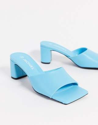 Monki Oda square toe faux leather heels in turquoise